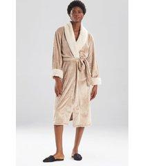 faux fur trim sleep & lounge bath wrap robe, women's, size l, n natori