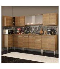 cozinha completa de canto madesa emilly jazz com armário vidro e balcão rustic rustic