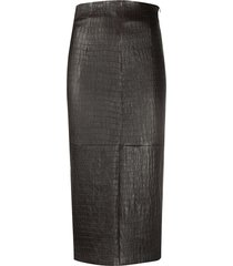 brunello cucinelli crocodile effect pencil skirt - brown