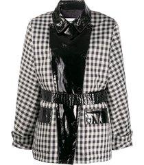 barbour x alexa chung ivy pvc-panelled gingham coat - black
