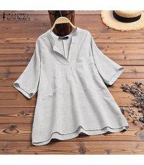 zanzea verano mujeres 3/4 cuello en v bolsillos delanteros raya camisas de las señoras remata la blusa -blanco