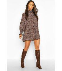 leopard print shirred neck shift dress, brown