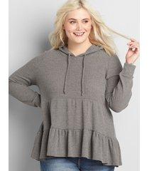 lane bryant women's waffle-knit max swing hoodie 14/16 charcoal