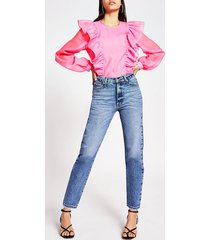 river island womens bright pink frill top