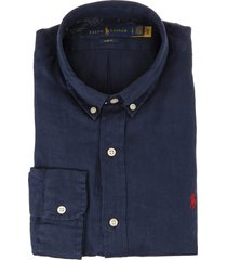 man navy blue and red slim fit linen shirt