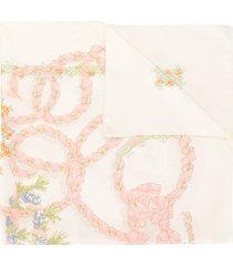 hermès pre-owned floral print scarf - white