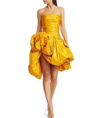 oscar de la renta women's strapless gathered silk cocktail dress - saffron - size 8