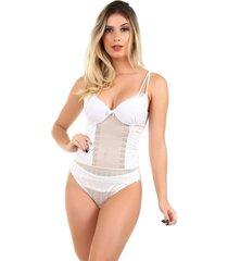 corpete imi lingerie corset corselet com bojo em microfibra e renda fio duplo milla branco - branco - feminino - dafiti
