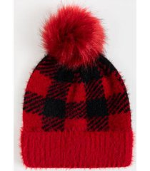 alma buffalo pom beanie - red
