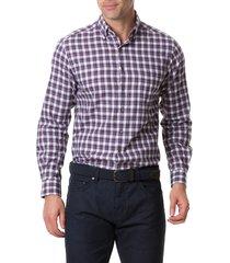 men's rodd & gunn monaghan regular fit check flannel button-up shirt, size xx-large - burgundy