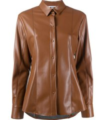 msgm faux leather fitted shirt - brown