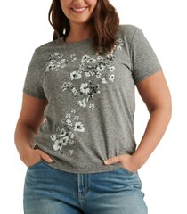 lucky brand floral panel graphic t-shirt