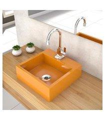 cuba de apoio p/ banheiro compace veneza q395w quadrada amarela