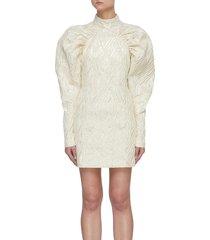 'kim' jacquarded puffed sleeve mini dress