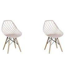 conjunto com 2 cadeiras base madeira cloe nude