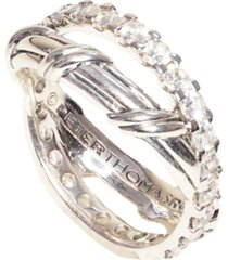 signature classic criss-cross ring with white topaz in sterling silver