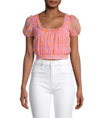 likely women's tina floral-print top - pink combo - size 8