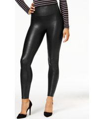 spanx women's faux-leather tummy control leggings