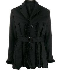 comme des garçons noir kei ninomiya faux fur panel belted jacket -