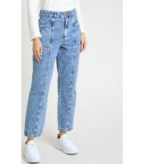 calça jeans feminina mom cintura super alta com recorte azul claro