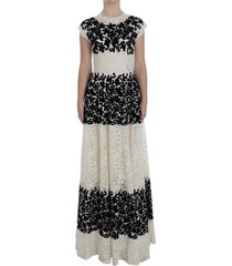 floral lace ricamo long ball maxi jurk