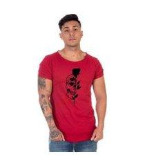 camiseta lucas lunny flores caveira conforto masculina
