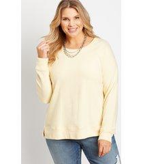 maurices plus size womens yellow crew neck sweatshirt