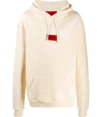 424 logo-embroidered hooded sweatshirt - neutrals