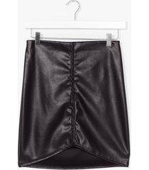 womens faux leather mini skirt - black