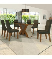 mesa de jantar 6 lugares pandora venus seda/marrom - viero móveis