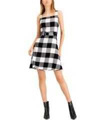 bar iii buffalo-check belted mini dress, created for macy's
