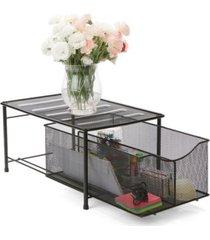 mind reader metal mesh storage basket with sliding drawer and steel mesh platform on top