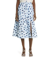 altuzarra tandy floral cotton skirt, size 4 us in coventry blue petal at nordstrom
