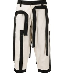 yohji yamamoto strap detail shorts - neutrals