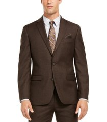bar iii men's slim-fit brown textured suit separate jacket, created for macy's