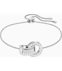 braccialetto hollow, bianco, placcatura rodio