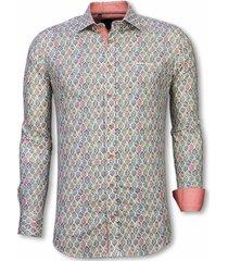 italiaanse overhemden - slim fit overhemd - blouse pastel flower pattern