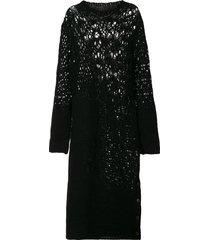 yohji yamamoto open-knit midi dress - black