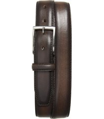 men's big & tall nordstrom men's shop jayden leather belt, size 46 - brown earth