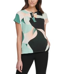 dkny petite puzzle printed tie blouse