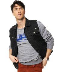 chaleco azul velo santo jeans