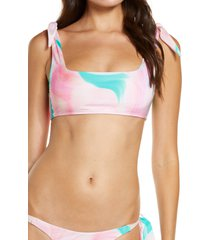 women's frankies bikinis kendall bikini top, size medium - pink