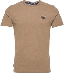 ol vintage embroidery tee t-shirts short-sleeved brun superdry