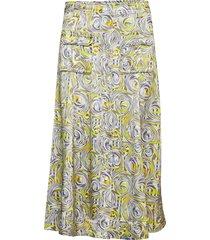 heavy satin skirt knälång kjol multi/mönstrad ganni