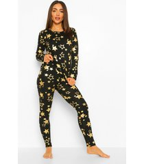 metallic sterrenprint pyjama set, black
