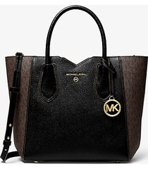 mk borsa messenger mae media in pelle martellata con logo - marrone/nero (marrone) - michael kors