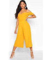 off the shoulder culotte jumpsuit, mustard