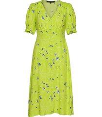 ambar drp prntd tea thr dress knälång klänning grön french connection