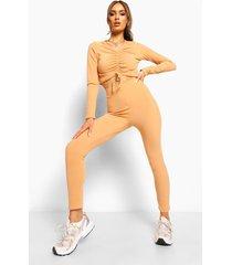 gekreukelde geribbelde geplooide top en leggings, caramel