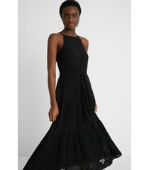 midi-dress linen halter - black - xl